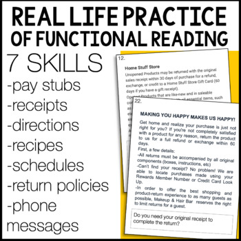 Life Skills Reading Task Card BUNDLE