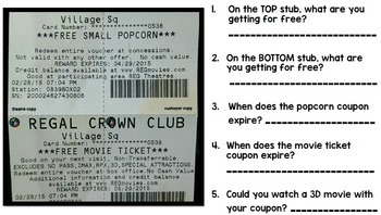 Life Skills Reading, Writing, Money, and Math: Going to the Movies Unit TWO