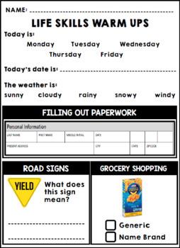 Life Skills Reading, Writing, + Math: Print and Go Warm Ups - Winter + January