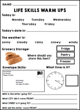 Life Skills February Warm Ups - Special Education - Reading - Writing - Math