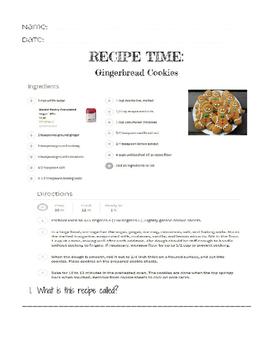 Life Skills Reading and Writing: Christmas + Holiday Recipes, Gingerbread