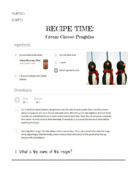 Life Skills Reading and Writing: Christmas + Holiday Recipes, Penguins
