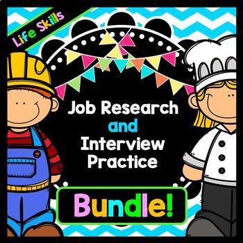 Life Skills Reading and Writing For Jobs: Career Research + Job Interview BUNDLE
