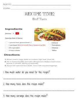 Life Skills Reading and Writing: Recipes - Beef Tacos