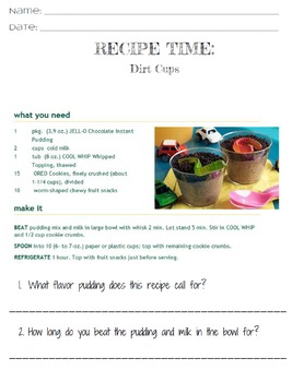 Life Skills Reading and Writing: Recipes - Dirt Cups