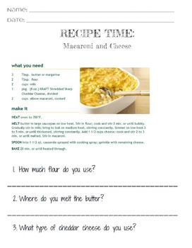 Life Skills Reading and Writing: Recipes - Macaroni and Cheese