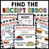 Life Skills - Receipts Bundle - Special Education - Catch The Mistake - Math