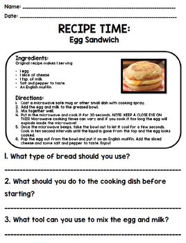 Life Skills - Recipe Comprehension - Cooking - Special Education - Unit Four