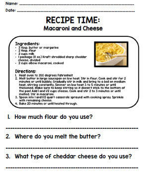 Life Skills - Recipe Comprehension - Cooking - Special Education - Unit Three