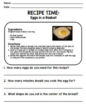 Life Skills - Recipe Comprehension - Cooking - Special Education - Unit Two