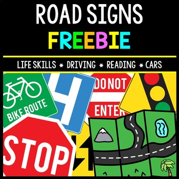 Life Skills - Road Signs - Driving - Permit Practice - Reading - Cars - FREEBIE