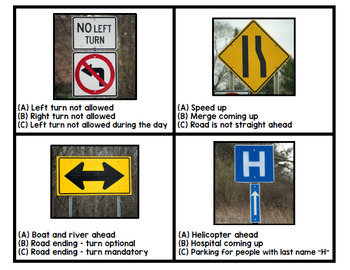Life Skills - Road Signs - Driving - Permit Practice - Reading - Task Cards