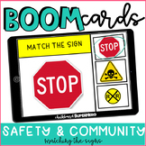 Life Skills: Safety & Community signs matching BOOM CARDS