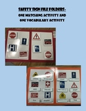 Life Skills: Safety Sign Vocabulary & Picture Match File Folder Games Special ed