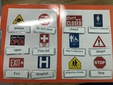 Life Skills: Safety Signs Vocabulary (word to picture match) File Folder Game