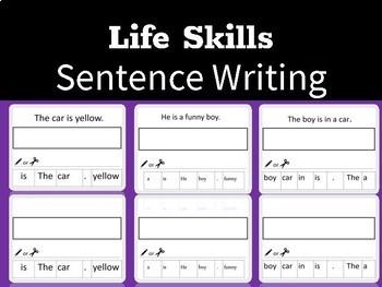 Life Skills Sentence Writing Practice Worksheets Level 1