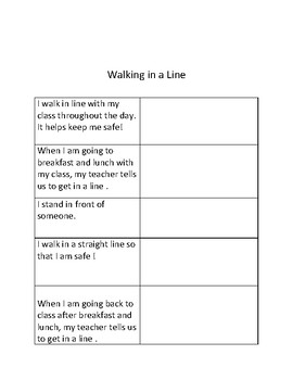 Life Skills Social Story: Lining up and Walking in a Line with picture cues