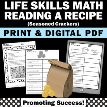 Reading a Recipe CRACKERS Life Skills Special Education and Autism Resources