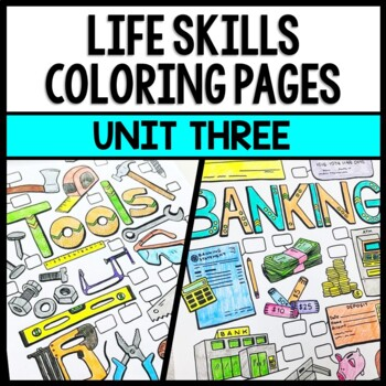 Life Skills - Special Education - Tools - Banking - Money - Coloring Pages
