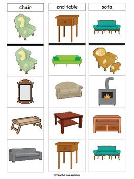 Life Skills Tasks: Living Room Clothespin Cards