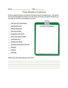 Life skills time wasters inventory worksheet time management worksheet ibookread PDF