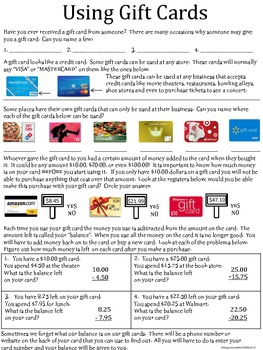 Life Skills - Using Gift Cards