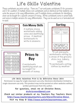 Life Skills Valentine Print & Go Worksheets: Money and Grocery Sorting (Autism)