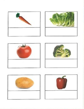 Life Skills: Vegetable Vocabulary Match (word to picture) file folder game