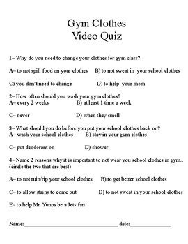 Life Skills Clothing Volume 1 Gym Clothes, Why Change? Video Quiz