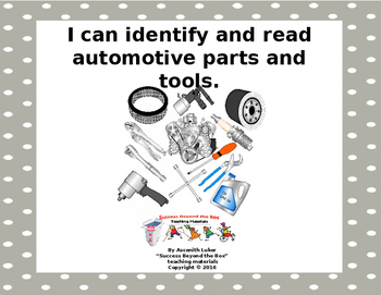 Life Skills/Vocational Skills: I Can Identify and Read Auto Parts & Tools (B)