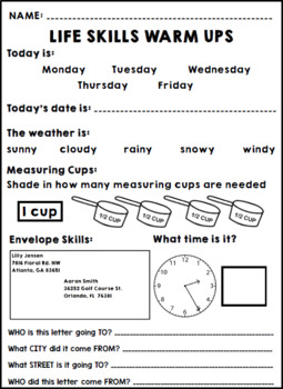 Life Skills Warm Ups - Summer - Special Education - June - Math - Reading