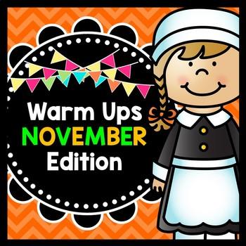 Life Skills Warm Ups: NOVEMBER - Thanksgiving, Reading, Writing