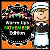 Life Skills Warm Ups: NOVEMBER - Thanksgiving, Special Education, ELA and Math
