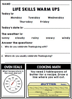 Life Skills Warm Ups: NOVEMBER - Thanksgiving, Special Education, ELA and Math