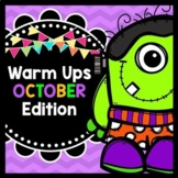 Life Skills Warm Ups: OCTOBER - Halloween, Reading, Writing