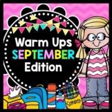 Life Skills Warm Ups: SEPTEMBER - Back to School Math, Reading, Writing