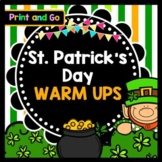 Life Skills Warm Ups: St. Patrick's Day Reading, Writing + Math Activities MARCH