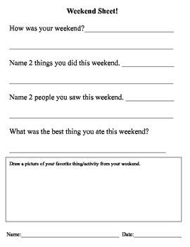 """Life Skills """"Weekend Sheet"""" LLD Class"""