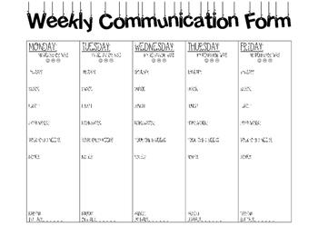 Life Skills Weekly Communication Form