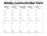 Life Skills Weekly Communication Form