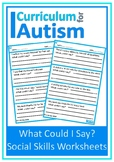 Social Skills 'What Could I Say?' Scenarios Autism Special Education Speech
