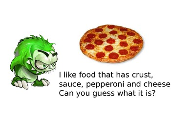 Special Education: What do Monsters Eat?  Guess the Food Power Point