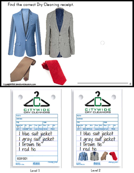Life Skills - Work Task DRY CLEANERS Reading/ Matching Color/Clothing Words