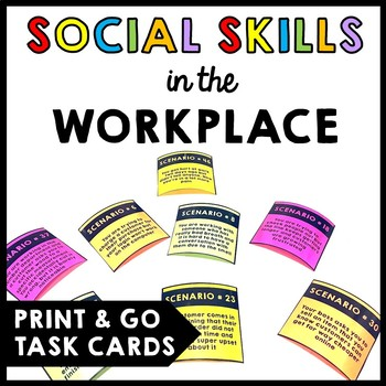 Life Skills - Workplace Social Skills - Task Cards - Vocational - Transition