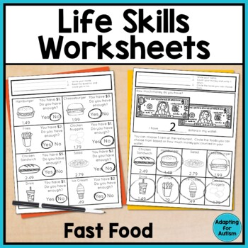 Life Skills Worksheets for Special Education and Autism (Fast Food ...
