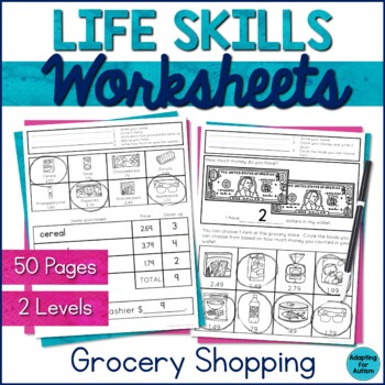 Life Skills Worksheets for Special Education and Autism (Grocery Store)