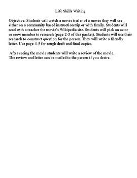 Life Skills Writing (Community Based Instruction) Going to