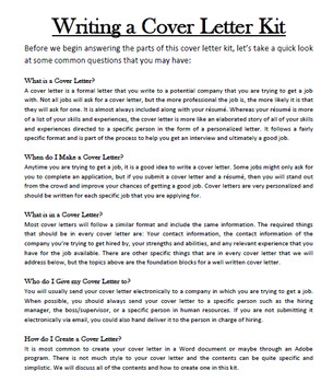Life Skills - Writing a Cover Letter Kit