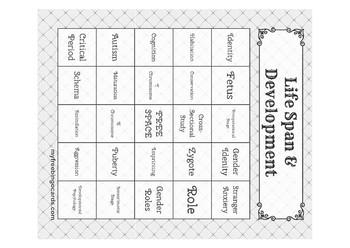 Life Span & Development Bingo