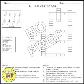 Life Substances Crossword Puzzle